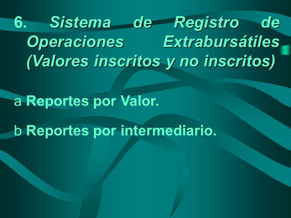 6. Sistema de Registro de Operaciones Extrabursátiles (Valores inscritos y no inscritos)