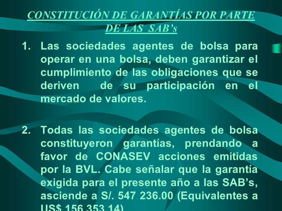 CONSTITUCIÓN DE GARANTÍAS POR PARTE DE LAS SAB's