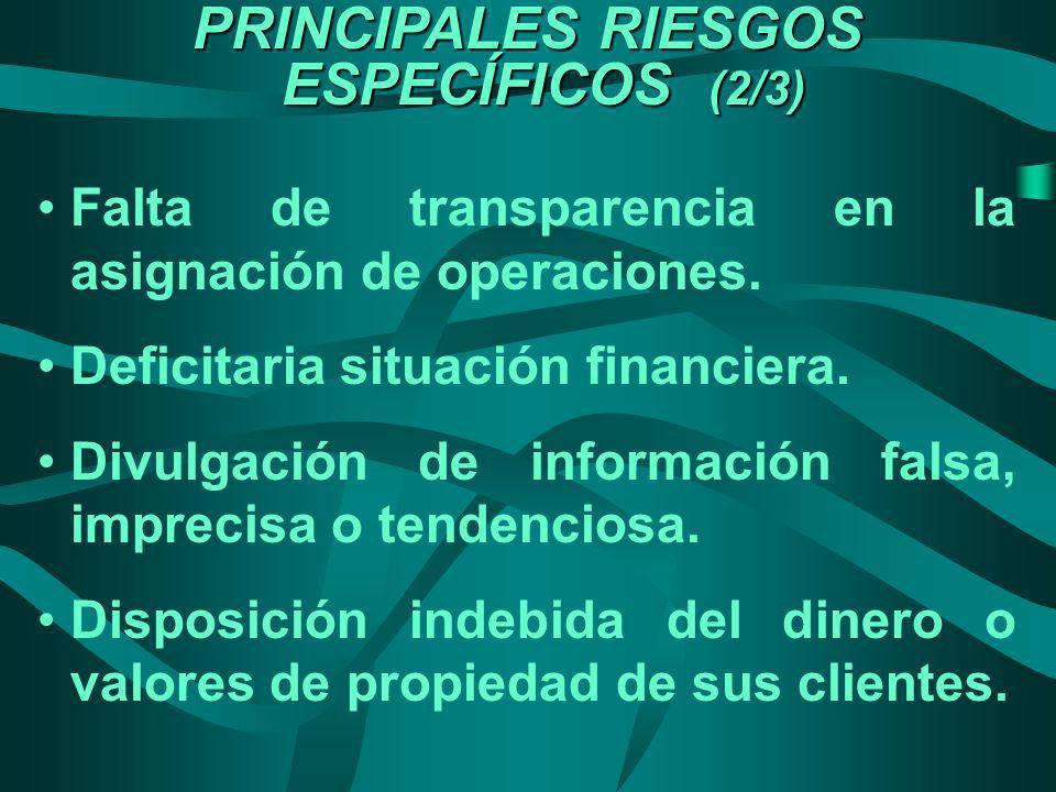 PRINCIPALES RIESGOS ESPECÍFICOS (2/3)