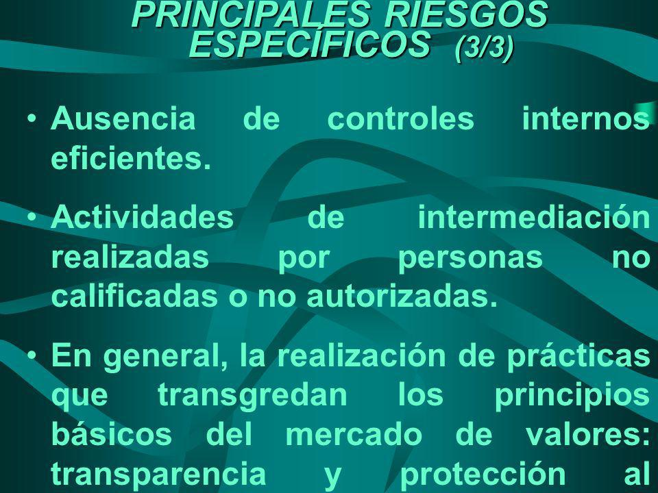 PRINCIPALES RIESGOS ESPECÍFICOS (3/3)