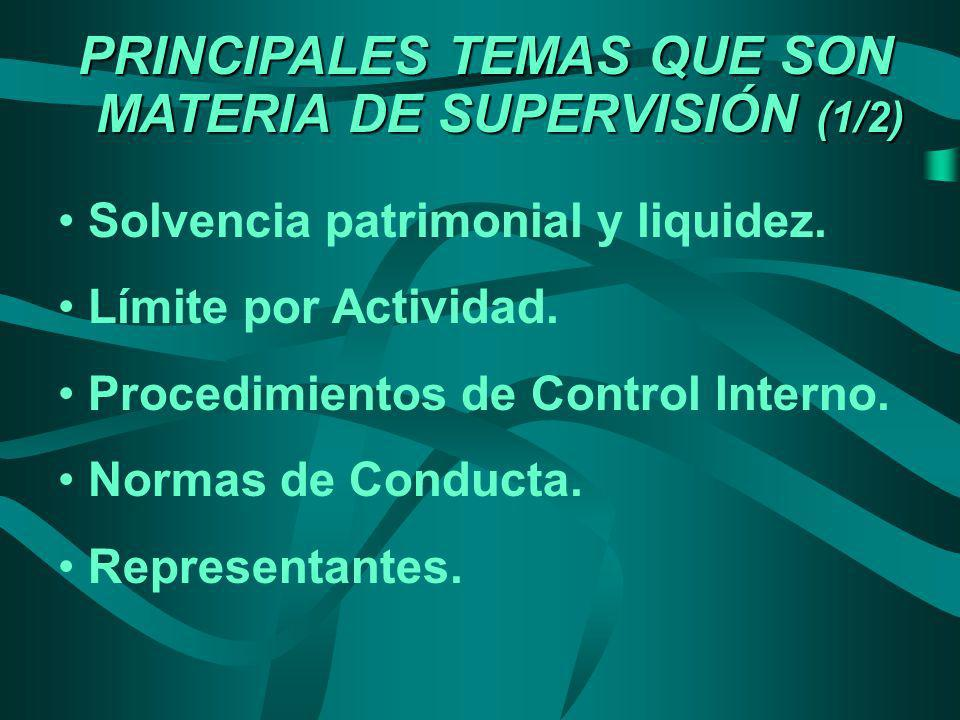 PRINCIPALES TEMAS QUE SON MATERIA DE SUPERVISIÓN (1/2)