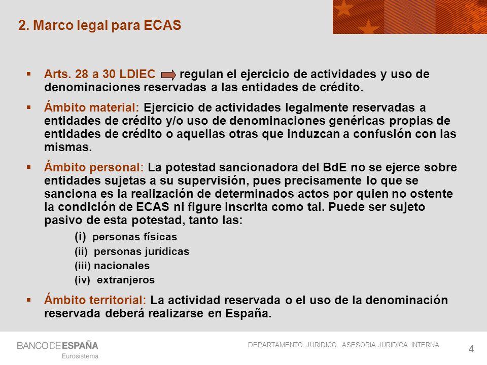 2. Marco legal para ECAS Arts. 28 a 30 LDIEC regulan el ejercicio de actividades y uso de denominaciones reservadas a las entidades de crédito.