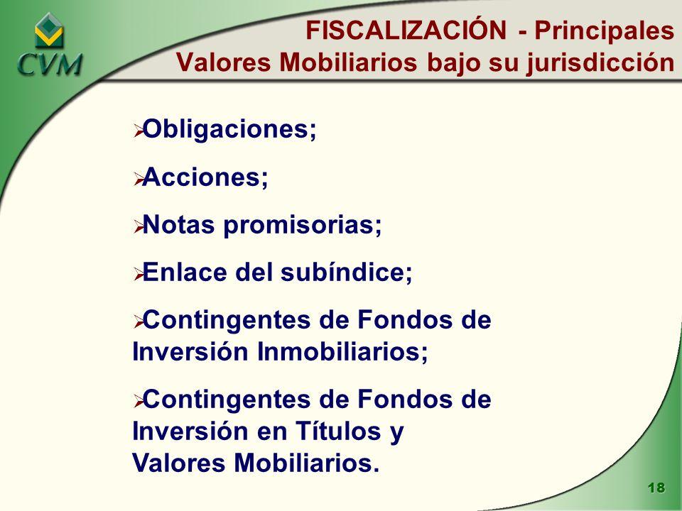 FISCALIZACIÓN - Principales Valores Mobiliarios bajo su jurisdicción