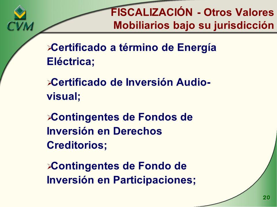 FISCALIZACIÓN - Otros Valores Mobiliarios bajo su jurisdicción