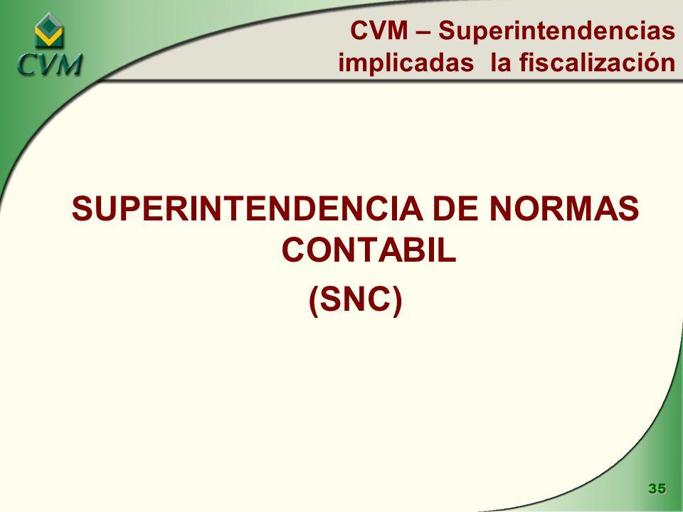 CVM – Superintendencias implicadas la fiscalización