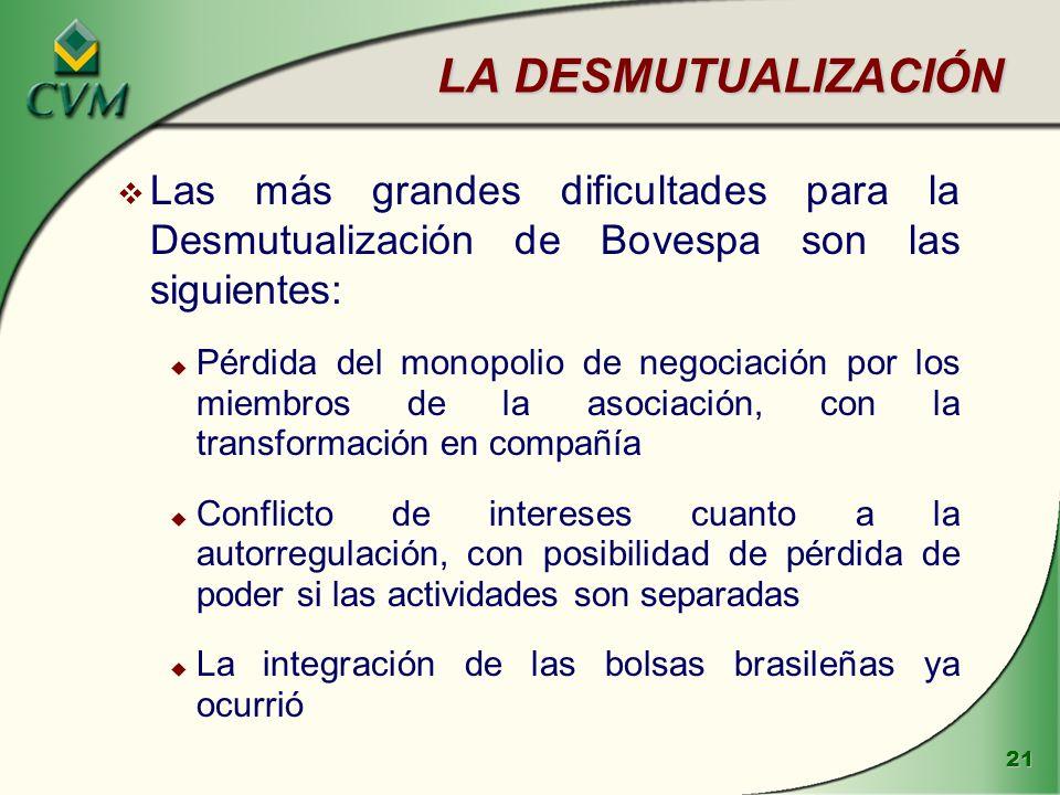 LA DESMUTUALIZACIÓN Las más grandes dificultades para la Desmutualización de Bovespa son las siguientes: