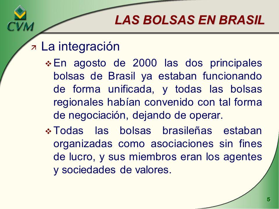 LAS BOLSAS EN BRASIL La integración