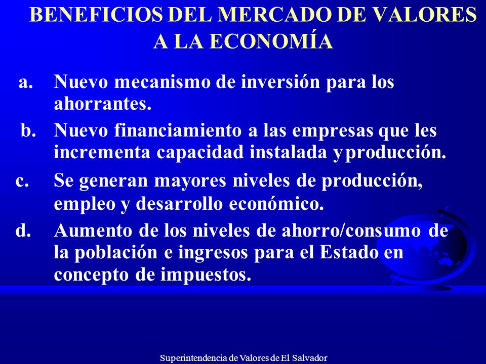 BENEFICIOS DEL MERCADO DE VALORES A LA ECONOMÍA