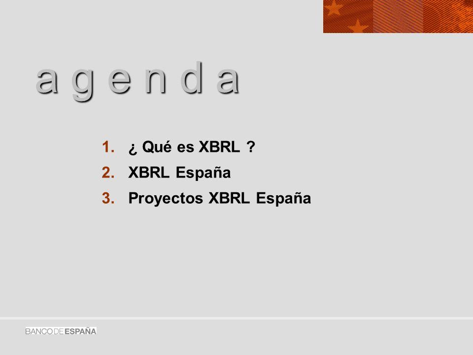 a g e n d a ¿ Qué es XBRL XBRL España Proyectos XBRL España