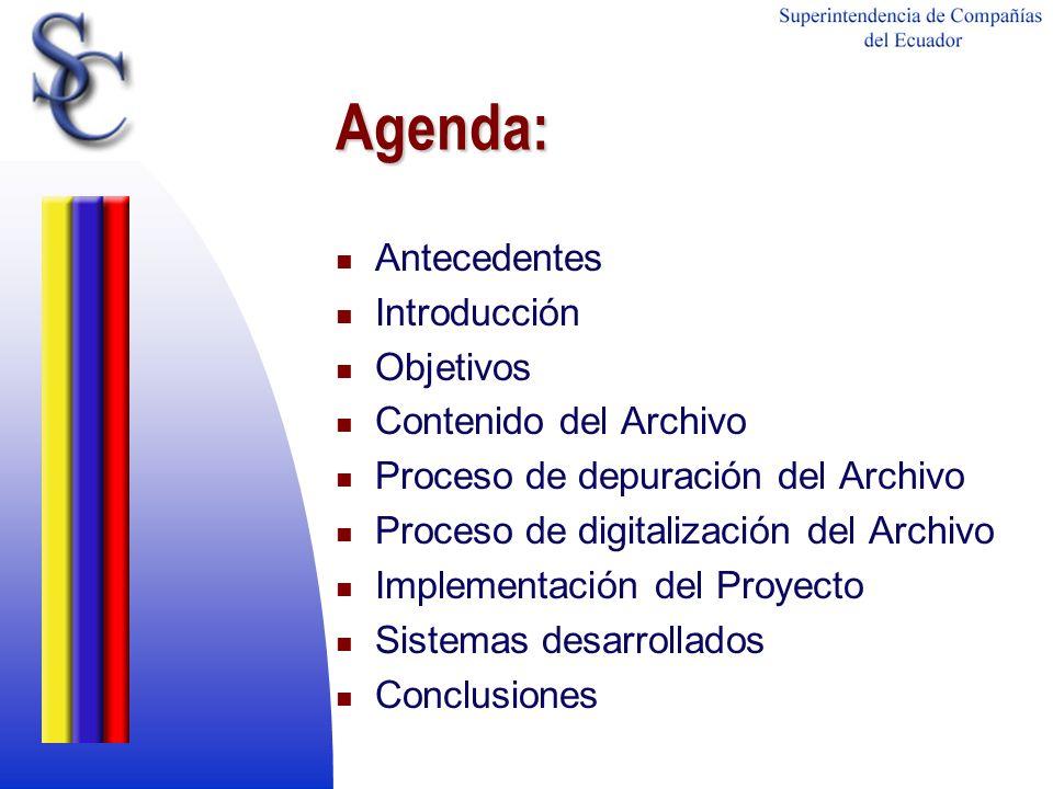 Agenda: Antecedentes Introducción Objetivos Contenido del Archivo