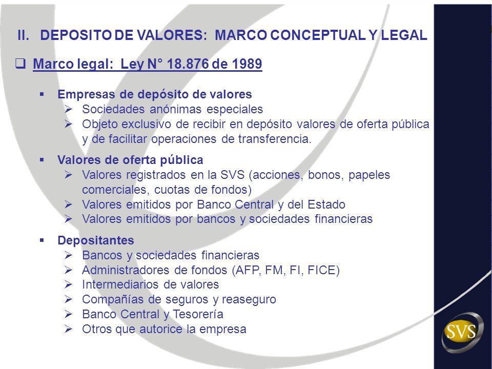 II. DEPOSITO DE VALORES: MARCO CONCEPTUAL Y LEGAL