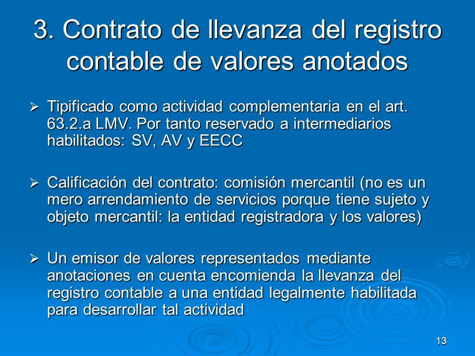 3. Contrato de llevanza del registro contable de valores anotados