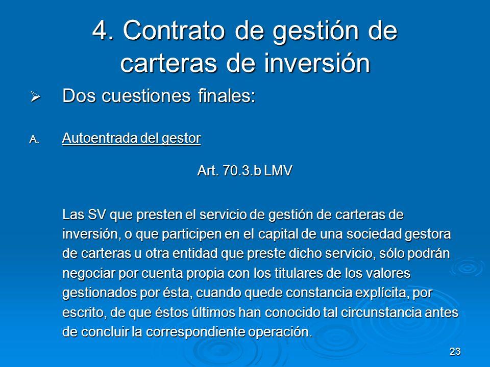 4. Contrato de gestión de carteras de inversión