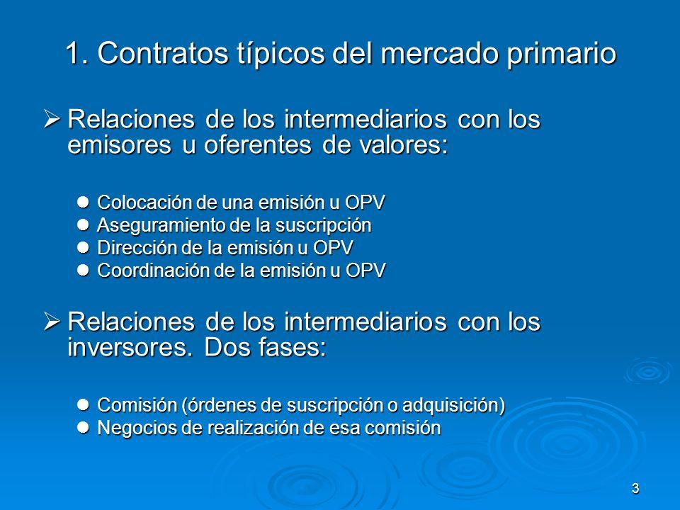 1. Contratos típicos del mercado primario