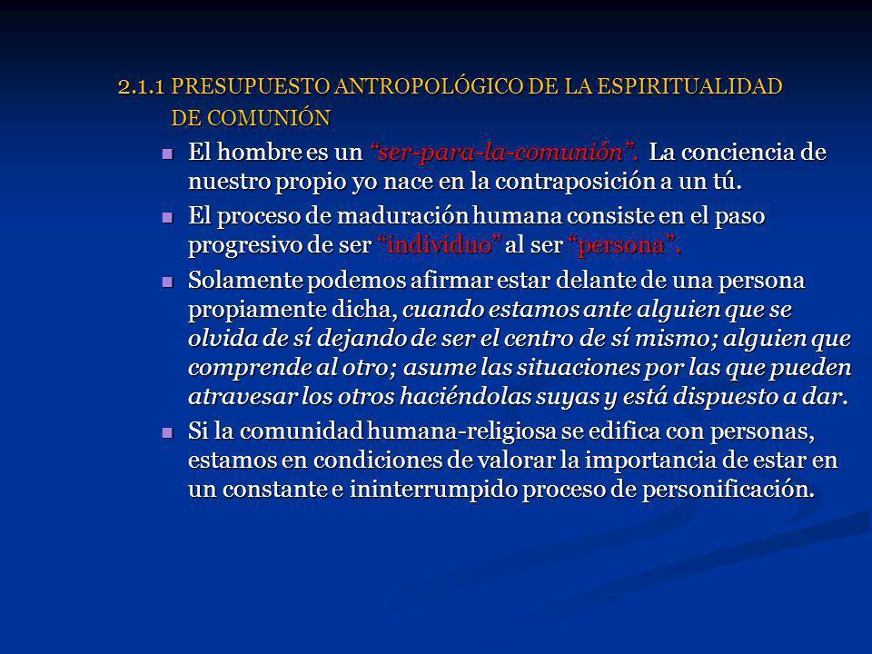 2.1.1 PRESUPUESTO ANTROPOLÓGICO DE LA ESPIRITUALIDAD