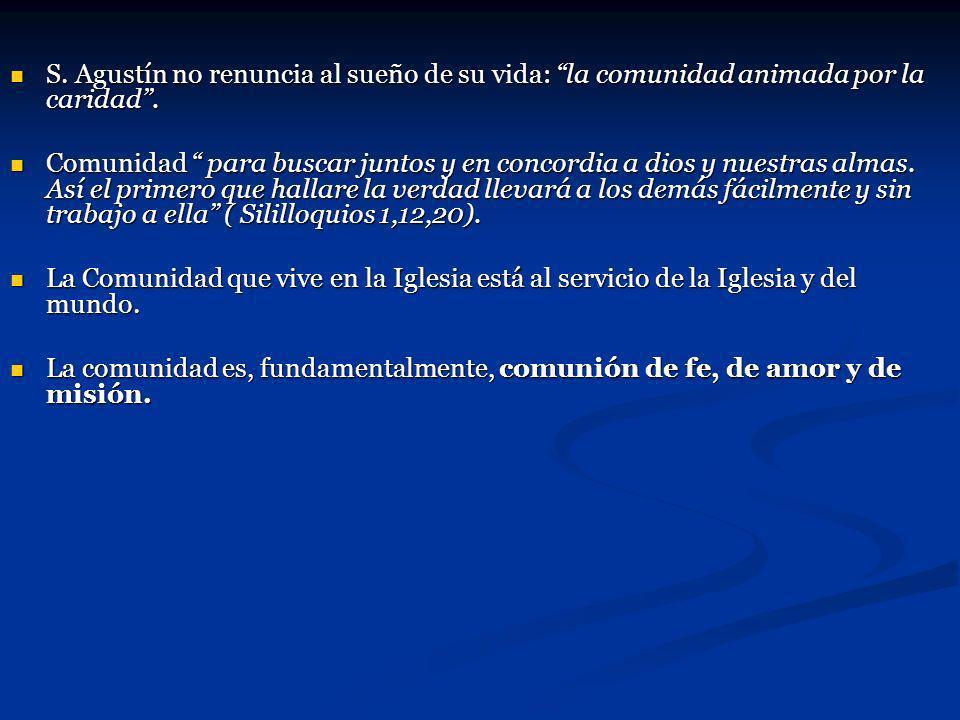 S. Agustín no renuncia al sueño de su vida: la comunidad animada por la caridad .