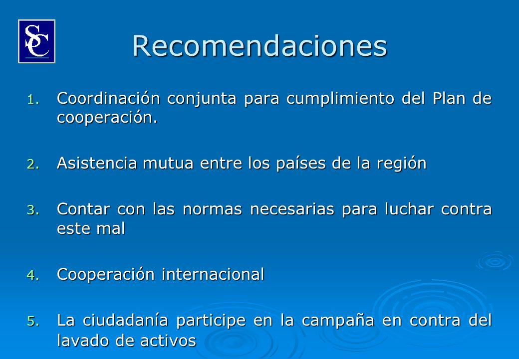 Recomendaciones Coordinación conjunta para cumplimiento del Plan de cooperación. Asistencia mutua entre los países de la región.