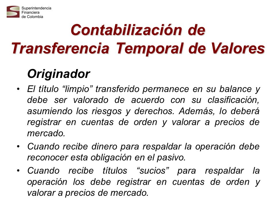 Contabilización de Transferencia Temporal de Valores