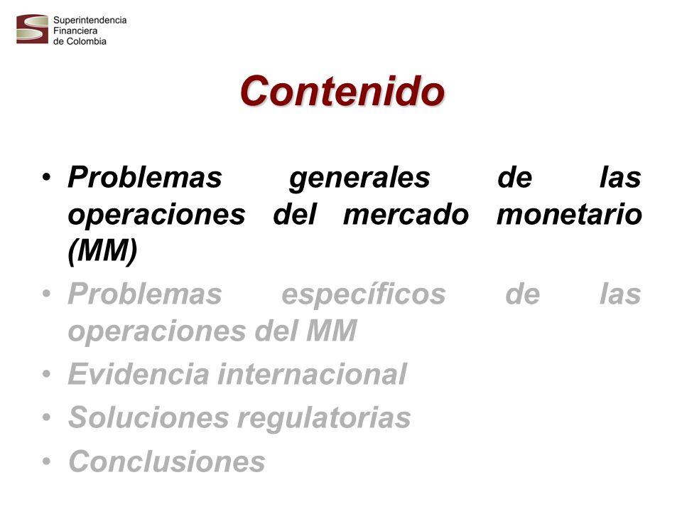Contenido Problemas generales de las operaciones del mercado monetario (MM) Problemas específicos de las operaciones del MM.