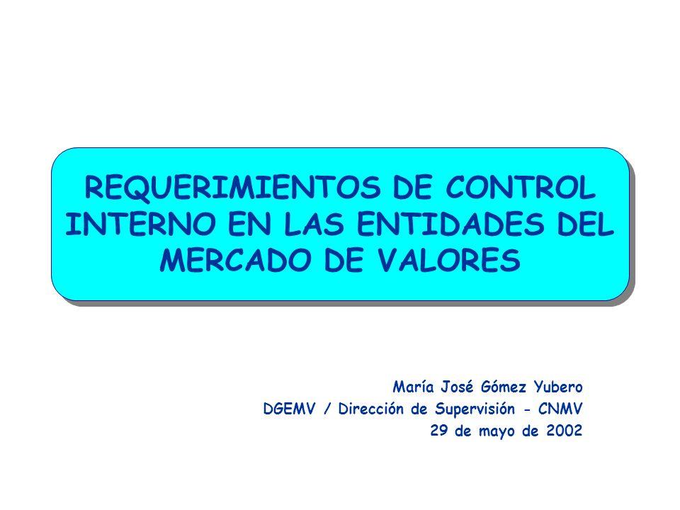 REQUERIMIENTOS DE CONTROL INTERNO EN LAS ENTIDADES DEL MERCADO DE VALORES