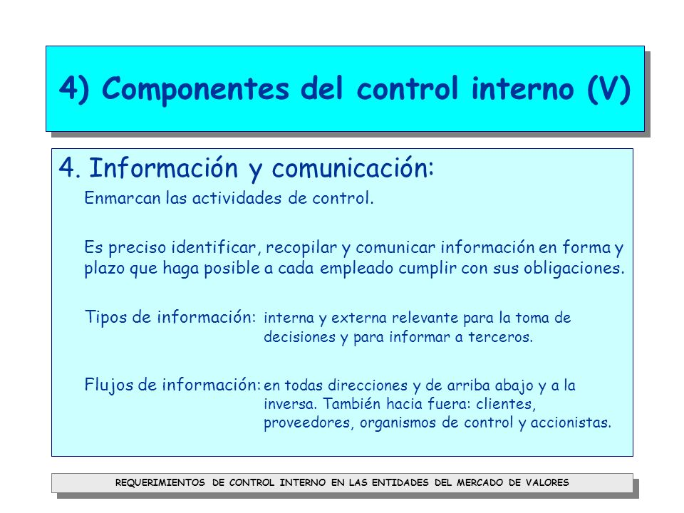 4) Componentes del control interno (V)