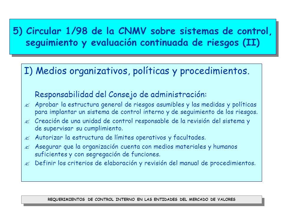 I) Medios organizativos, políticas y procedimientos.