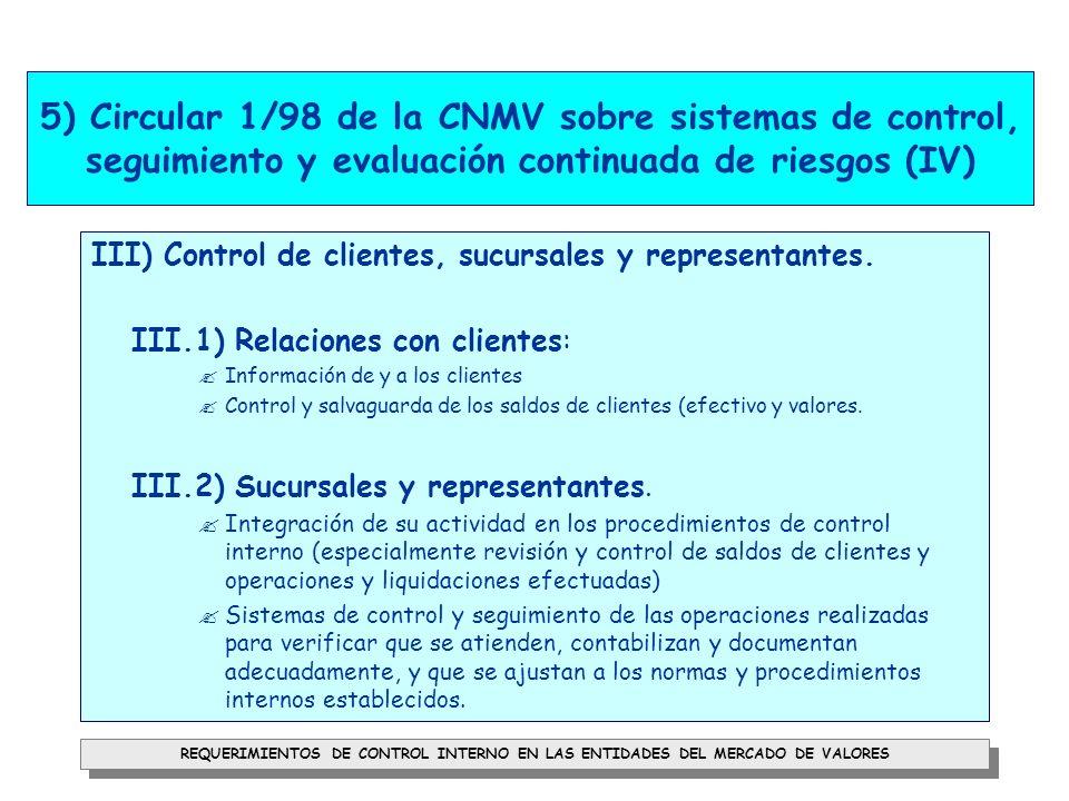 5) Circular 1/98 de la CNMV sobre sistemas de control, seguimiento y evaluación continuada de riesgos (IV)