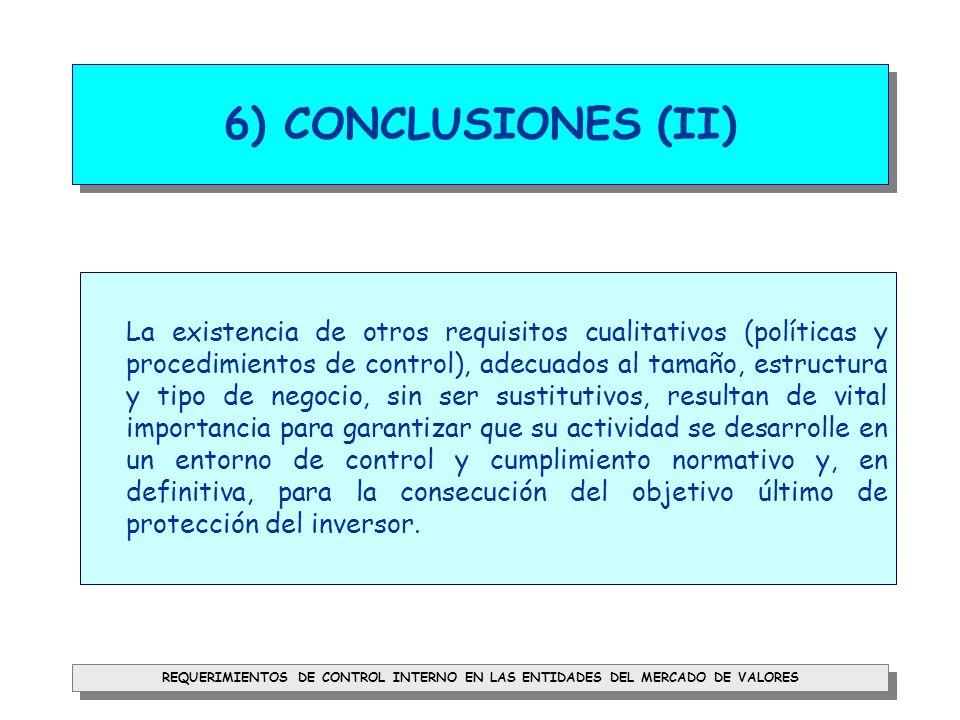 6) CONCLUSIONES (II)