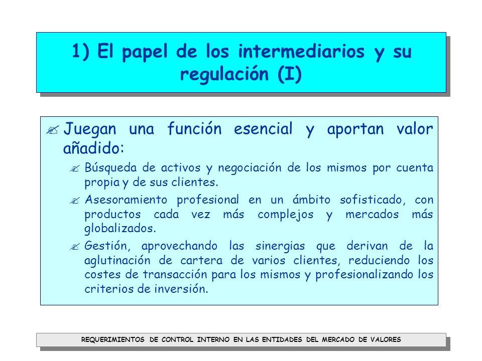1) El papel de los intermediarios y su regulación (I)