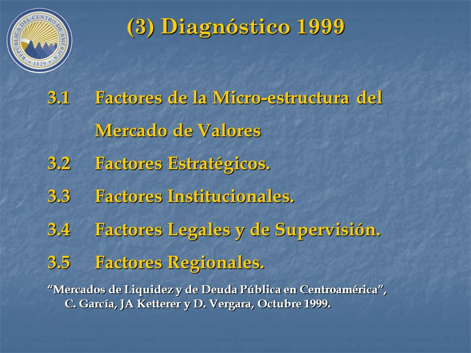 (3) Diagnóstico 1999 3.1 Factores de la Micro-estructura del