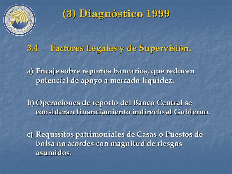 (3) Diagnóstico 1999 3.4 Factores Legales y de Supervisión.