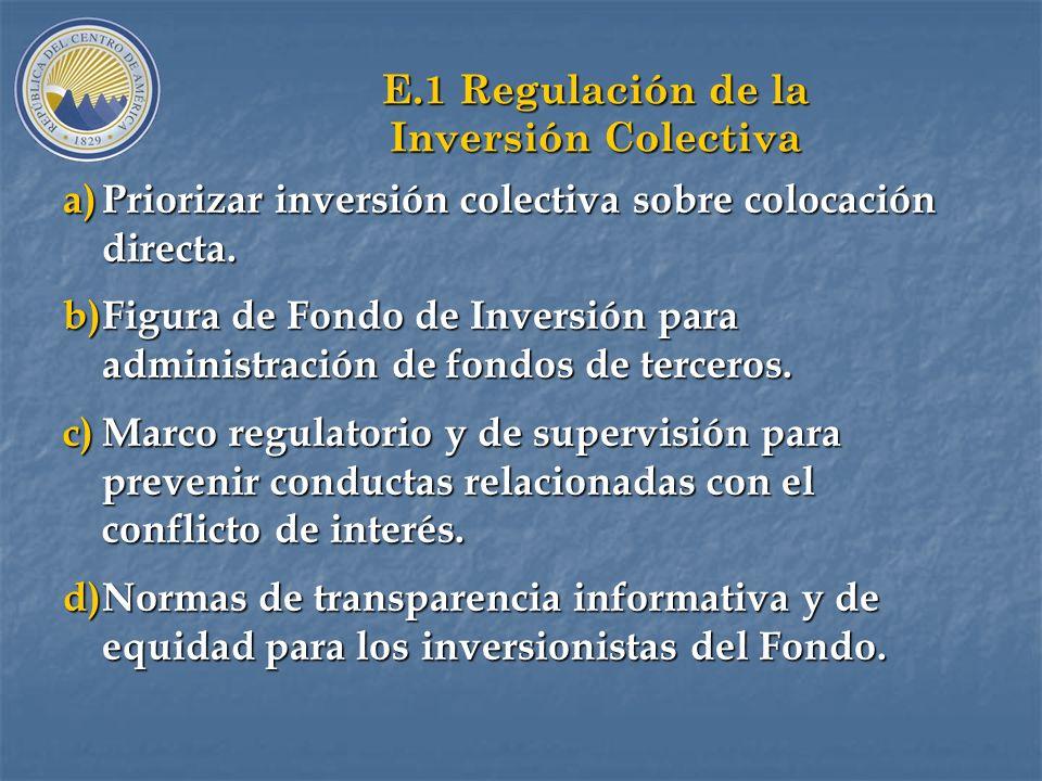 E.1 Regulación de la Inversión Colectiva