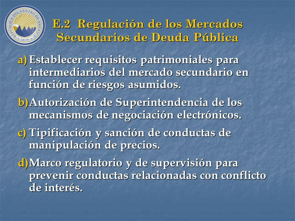 E.2 Regulación de los Mercados Secundarios de Deuda Pública