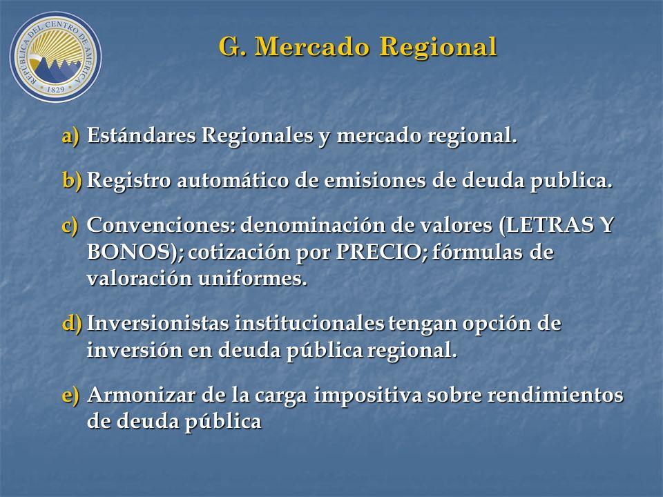 G. Mercado Regional Estándares Regionales y mercado regional.
