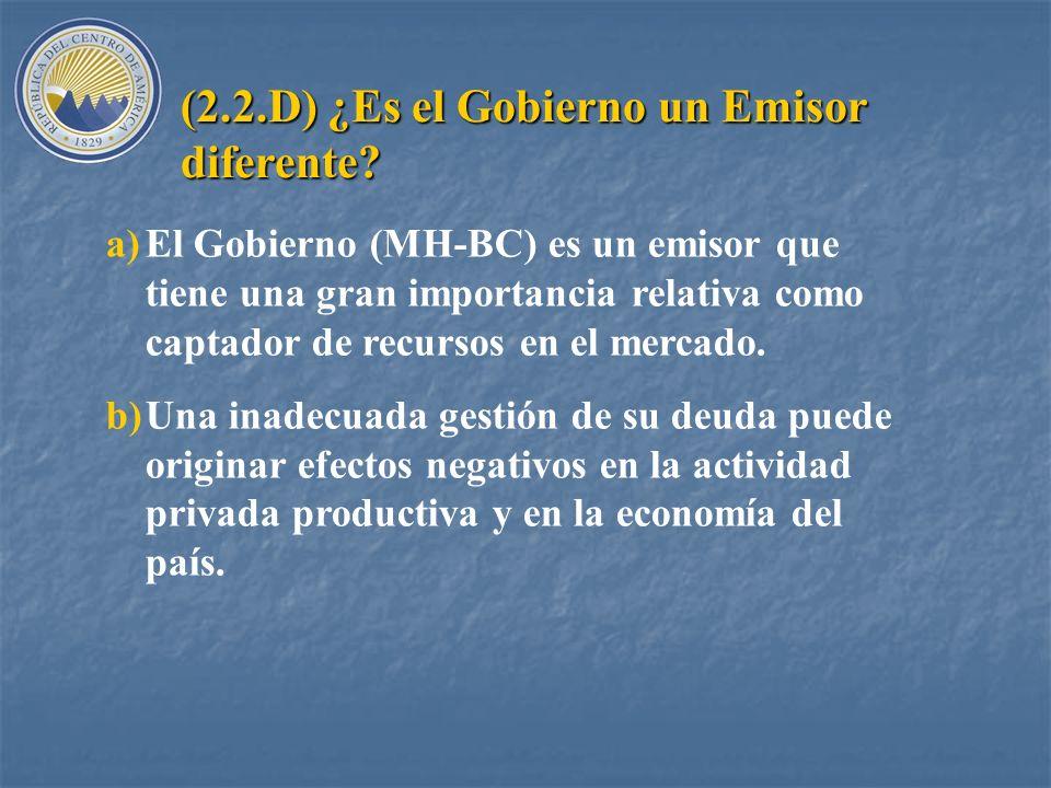 (2.2.D) ¿Es el Gobierno un Emisor diferente