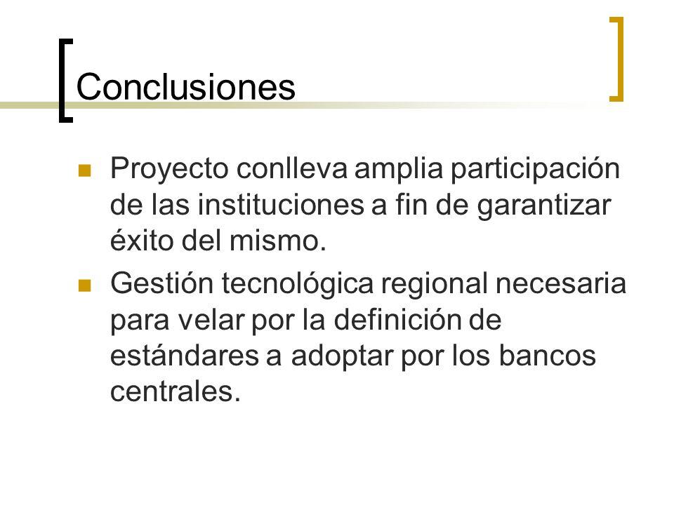 Conclusiones Proyecto conlleva amplia participación de las instituciones a fin de garantizar éxito del mismo.