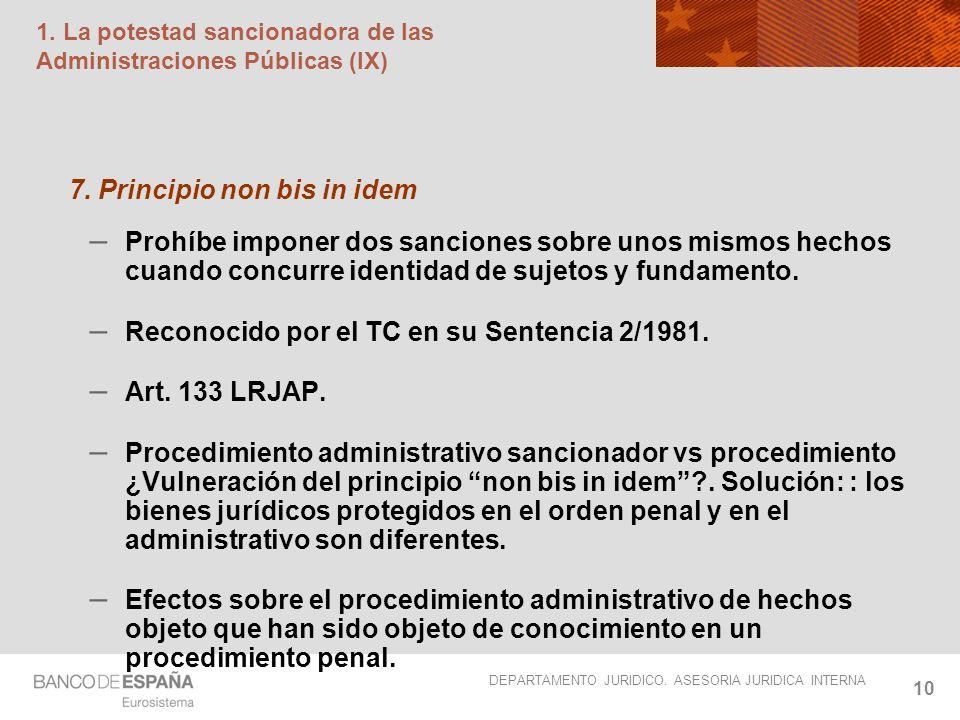 1. La potestad sancionadora de las Administraciones Públicas (IX)