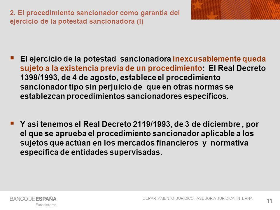 2. El procedimiento sancionador como garantía del ejercicio de la potestad sancionadora (I)