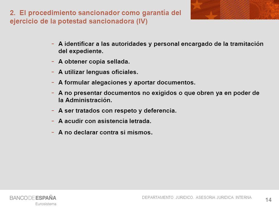 2. El procedimiento sancionador como garantía del ejercicio de la potestad sancionadora (IV)
