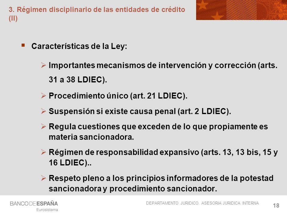 3. Régimen disciplinario de las entidades de crédito (II)
