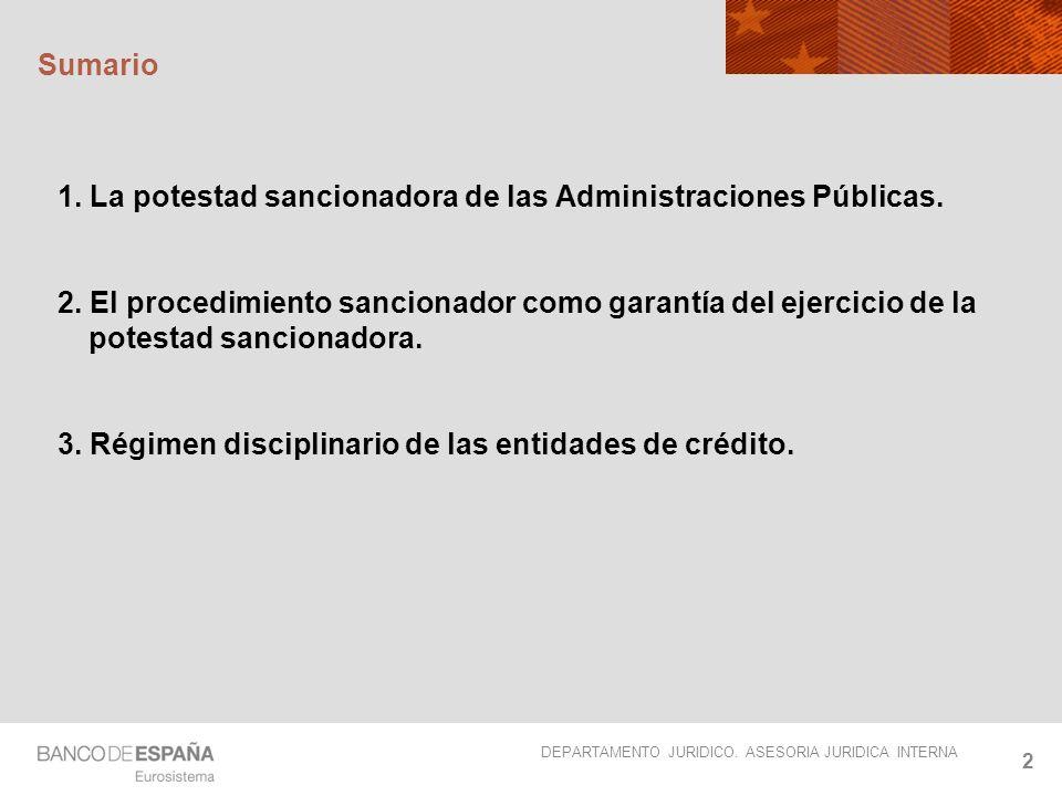 Sumario 1. La potestad sancionadora de las Administraciones Públicas.