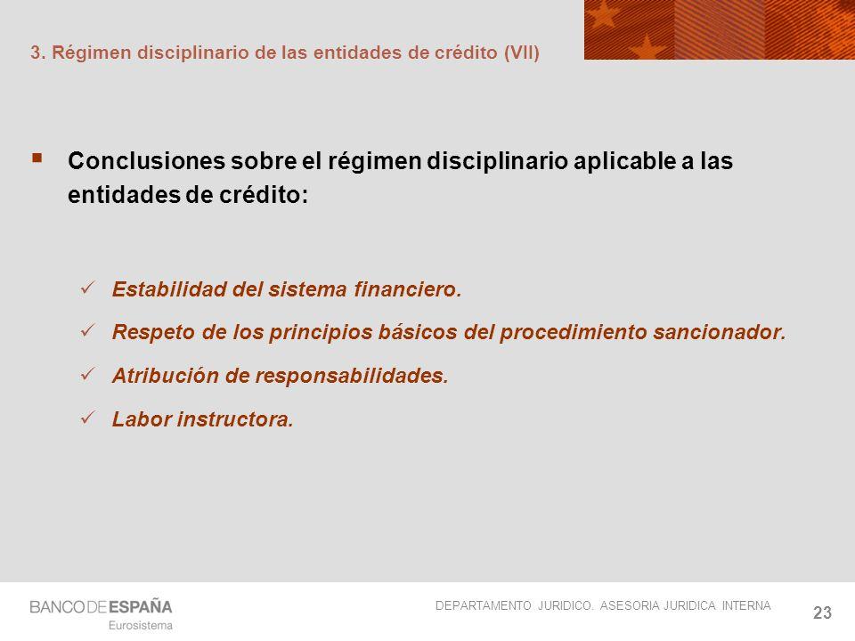 3. Régimen disciplinario de las entidades de crédito (VII)