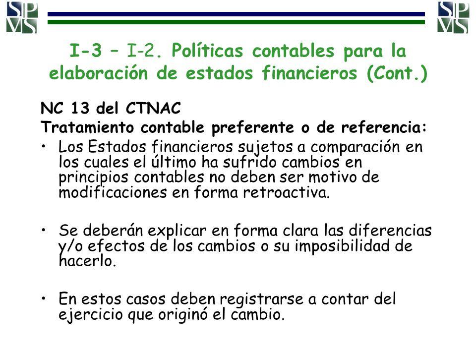I-3 – I-2. Políticas contables para la elaboración de estados financieros (Cont.)