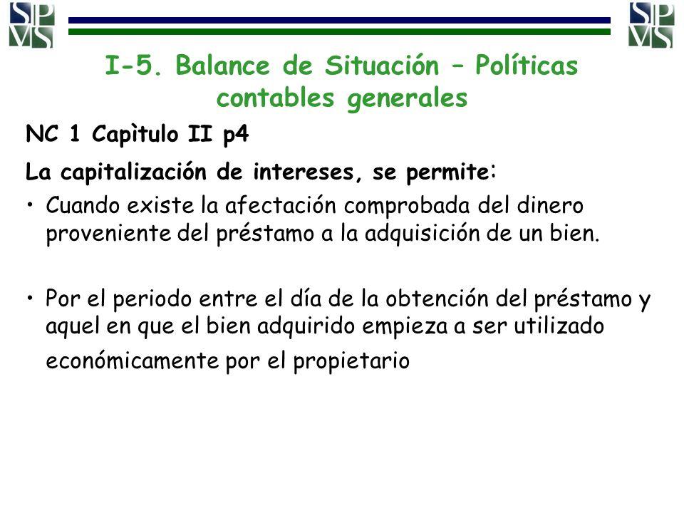 I-5. Balance de Situación – Políticas contables generales