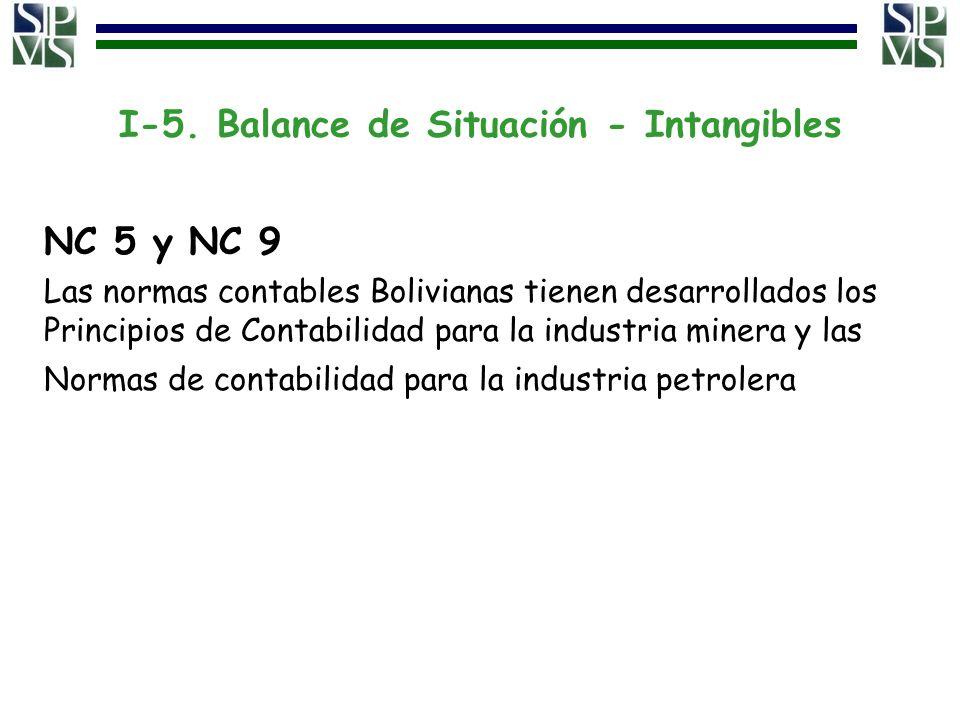 I-5. Balance de Situación - Intangibles