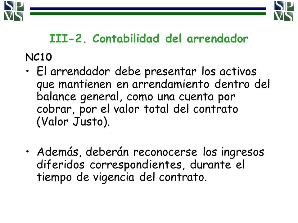 III-2. Contabilidad del arrendador