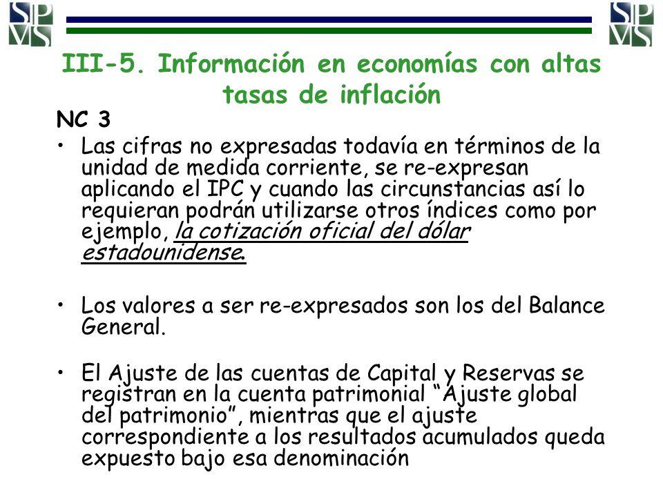 III-5. Información en economías con altas tasas de inflación