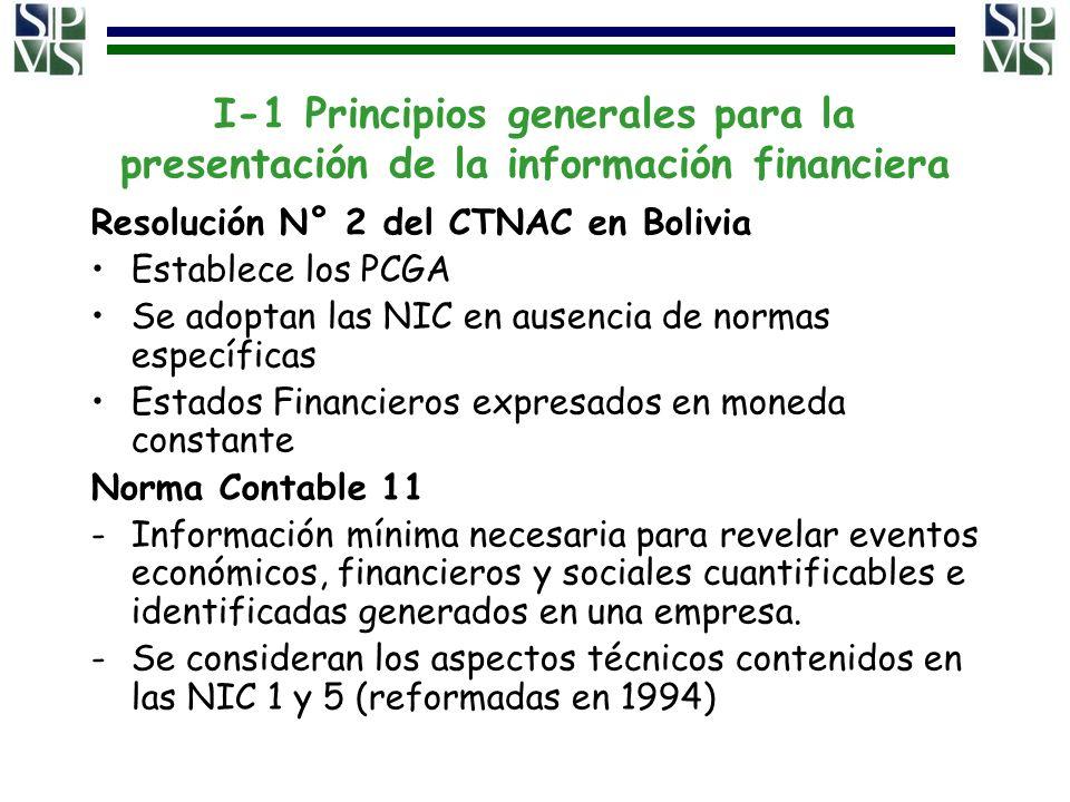 I-1 Principios generales para la presentación de la información financiera