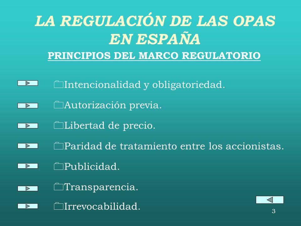 LA REGULACIÓN DE LAS OPAS EN ESPAÑA PRINCIPIOS DEL MARCO REGULATORIO