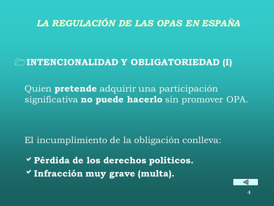 LA REGULACIÓN DE LAS OPAS EN ESPAÑA